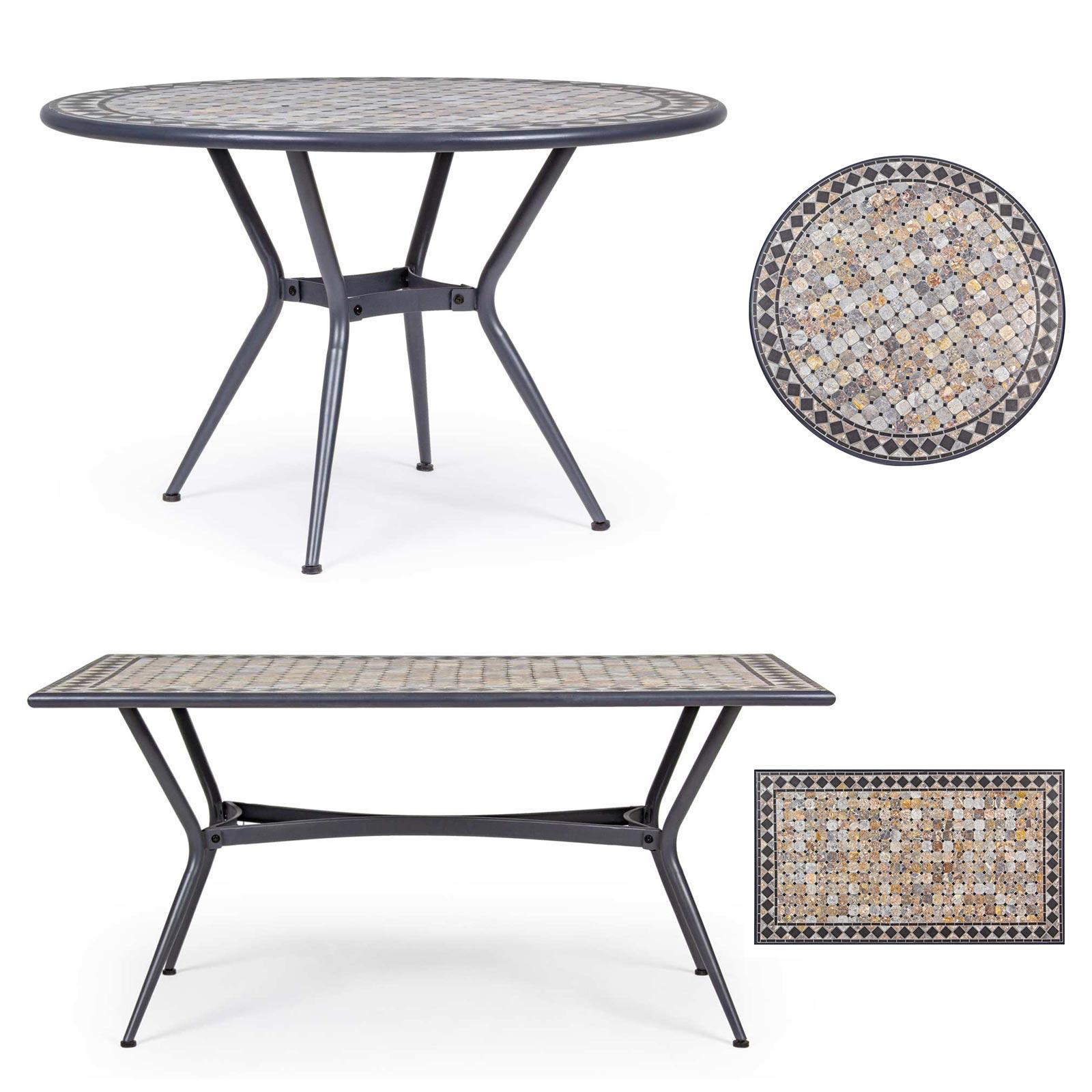 Tavolo Esterno Giardino Decoro Ceramica Mosaico Acciaio Pranzo Rotondo Berkley Ebay